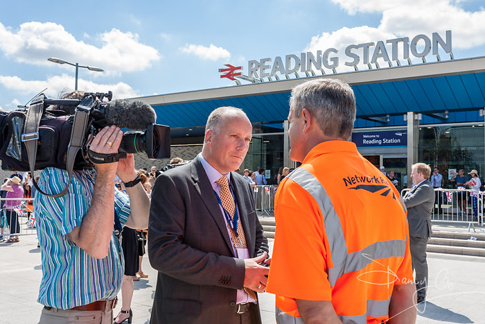 Media interviewing Network Rail employee