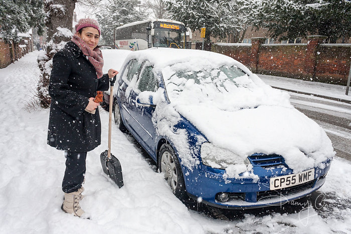 Vehicle stuck in winter snow