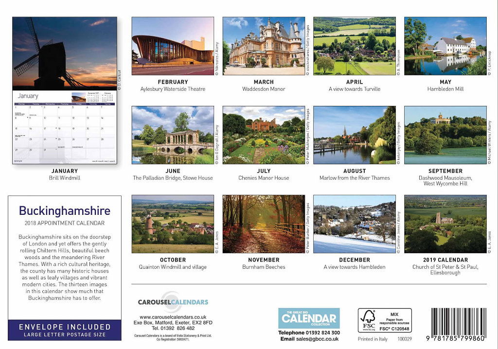 2018 Buckinghamshire Calendar